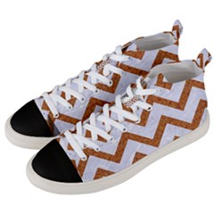 Chevron9 White Marble & Rusted Metal (r) Men s Mid Top Canvas Sneakers by trendistuff