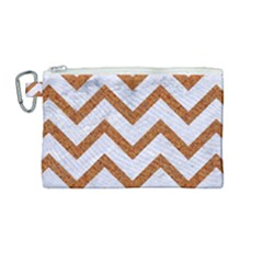 Chevron9 White Marble & Rusted Metal (r) Canvas Cosmetic Bag (medium) by trendistuff
