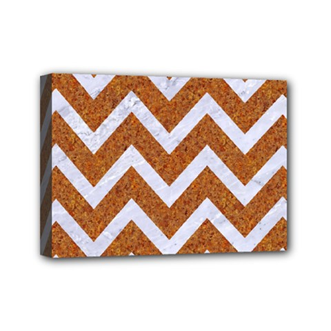 Chevron9 White Marble & Rusted Metal Mini Canvas 7  X 5  by trendistuff