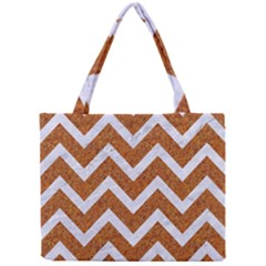 Chevron9 White Marble & Rusted Metal Mini Tote Bag by trendistuff