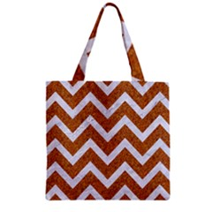 Chevron9 White Marble & Rusted Metal Zipper Grocery Tote Bag by trendistuff