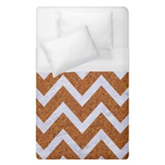 Chevron9 White Marble & Rusted Metal Duvet Cover (single Size) by trendistuff