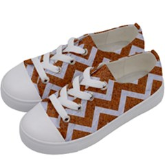 Chevron9 White Marble & Rusted Metal Kids  Low Top Canvas Sneakers by trendistuff