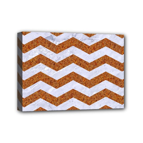Chevron3 White Marble & Rusted Metal Mini Canvas 7  X 5  by trendistuff