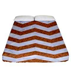 Chevron3 White Marble & Rusted Metal Fitted Sheet (king Size) by trendistuff