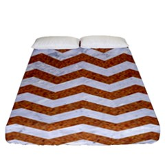 Chevron3 White Marble & Rusted Metal Fitted Sheet (california King Size) by trendistuff