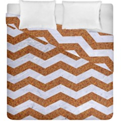 Chevron3 White Marble & Rusted Metal Duvet Cover Double Side (king Size) by trendistuff