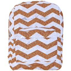 Chevron3 White Marble & Rusted Metal Full Print Backpack by trendistuff