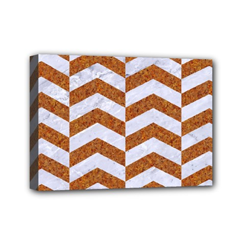 Chevron2 White Marble & Rusted Metal Mini Canvas 7  X 5  by trendistuff