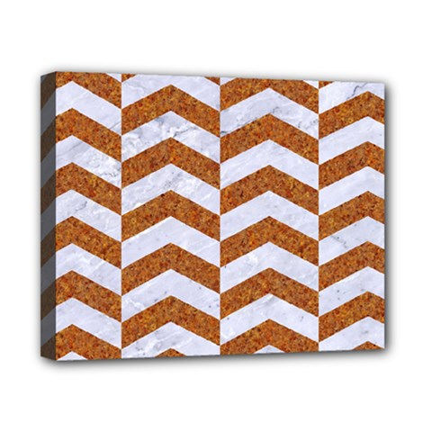 Chevron2 White Marble & Rusted Metal Canvas 10  X 8  by trendistuff