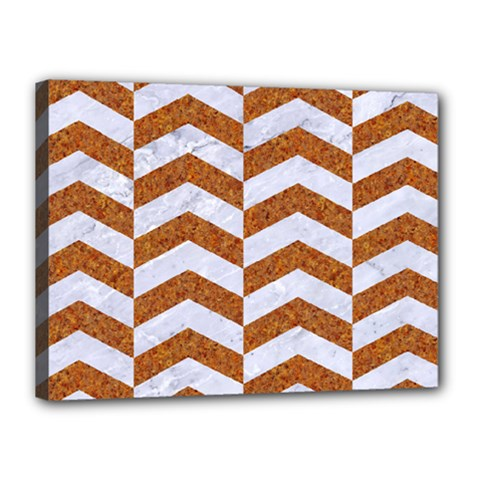 Chevron2 White Marble & Rusted Metal Canvas 16  X 12  by trendistuff
