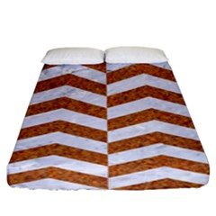 Chevron2 White Marble & Rusted Metal Fitted Sheet (king Size) by trendistuff