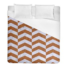 Chevron2 White Marble & Rusted Metal Duvet Cover (full/ Double Size) by trendistuff