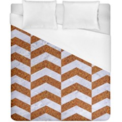 Chevron2 White Marble & Rusted Metal Duvet Cover (california King Size) by trendistuff