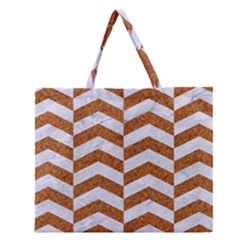 Chevron2 White Marble & Rusted Metal Zipper Large Tote Bag by trendistuff