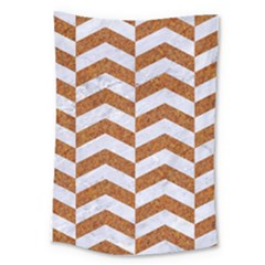 Chevron2 White Marble & Rusted Metal Large Tapestry by trendistuff