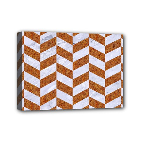 Chevron1 White Marble & Rusted Metal Mini Canvas 7  X 5  by trendistuff