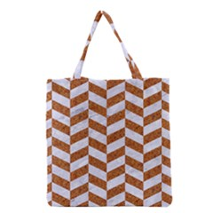 Chevron1 White Marble & Rusted Metal Grocery Tote Bag by trendistuff