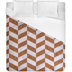 Chevron1 White Marble & Rusted Metal Duvet Cover (california King Size) by trendistuff