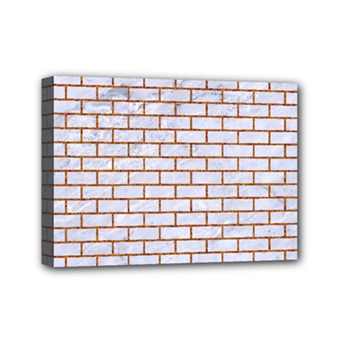 Brick1 White Marble & Rusted Metal (r) Mini Canvas 7  X 5  by trendistuff