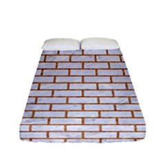 Brick1 White Marble & Rusted Metal (r) Fitted Sheet (full/ Double Size) by trendistuff