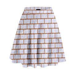Brick1 White Marble & Rusted Metal (r) High Waist Skirt by trendistuff