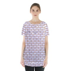 Brick1 White Marble & Rusted Metal (r) Skirt Hem Sports Top