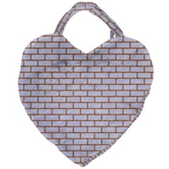 Brick1 White Marble & Rusted Metal (r) Giant Heart Shaped Tote