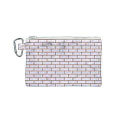 Brick1 White Marble & Rusted Metal (r) Canvas Cosmetic Bag (small) by trendistuff
