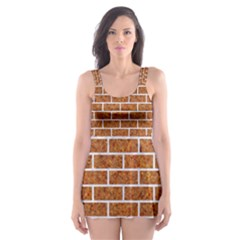 Brick1 White Marble & Rusted Metal Skater Dress Swimsuit