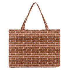 Brick1 White Marble & Rusted Metal Zipper Medium Tote Bag by trendistuff