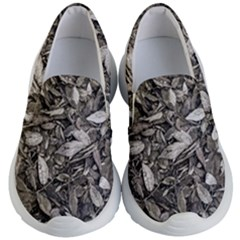 Black And White Leaves Pattern Kid s Lightweight Slip Ons