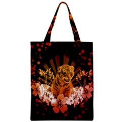 Cute Little Tiger With Flowers Zipper Classic Tote Bag by FantasyWorld7