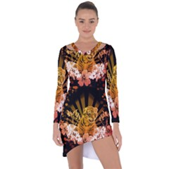 Cute Little Tiger With Flowers Asymmetric Cut-out Shift Dress by FantasyWorld7
