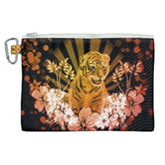 Cute Little Tiger With Flowers Canvas Cosmetic Bag (xl) by FantasyWorld7
