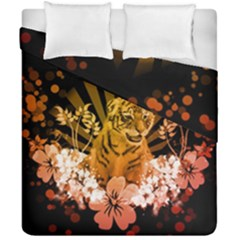 Cute Little Tiger With Flowers Duvet Cover Double Side (california King Size) by FantasyWorld7