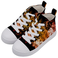 Cute Little Tiger With Flowers Kid s Mid Top Canvas Sneakers by FantasyWorld7