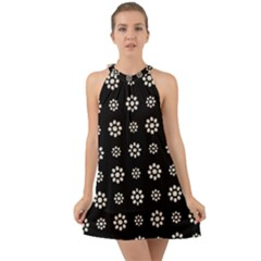 Dark Stylized Floral Pattern Halter Tie Back Chiffon Dress by dflcprints