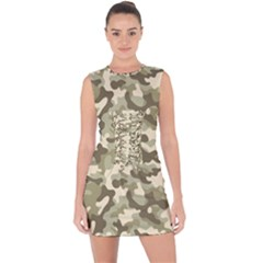 Camouflage 03 Lace Up Front Bodycon Dress