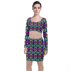 Artwork By Patrick Pattern 24 Long Sleeve Crop Top & Bodycon Skirt Set