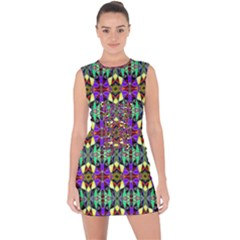 Artwork By Patrick Pattern 24 Lace Up Front Bodycon Dress