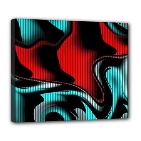 Hot Abstraction With Lines 3 Deluxe Canvas 24  X 20   by MoreColorsinLife