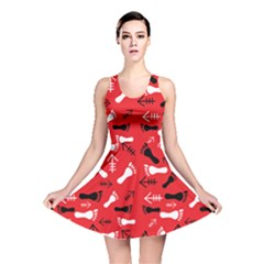 Red Reversible Skater Dress by HASHHAB