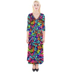 Pattern 34 Quarter Sleeve Wrap Maxi Dress by ArtworkByPatrick