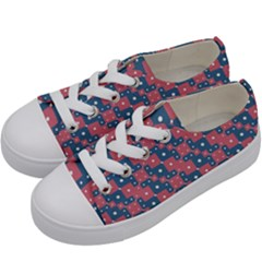 Squares And Circles Motif Geometric Pattern Kids  Low Top Canvas Sneakers by dflcprints