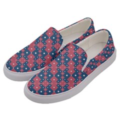 Squares And Circles Motif Geometric Pattern Men s Canvas Slip Ons by dflcprints