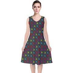 Roses Raining For Love  In Pop Art V Neck Midi Sleeveless Dress