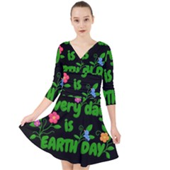 Earth Day Quarter Sleeve Front Wrap Dress by Valentinaart