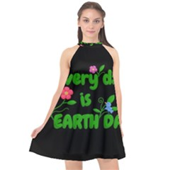 Earth Day Halter Neckline Chiffon Dress
