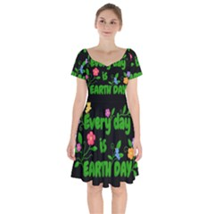 Earth Day Short Sleeve Bardot Dress by Valentinaart